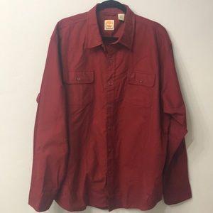 Timberland red button down shirt. Size 2XL.